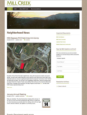 Mill Creek Homeowners Assn - current site